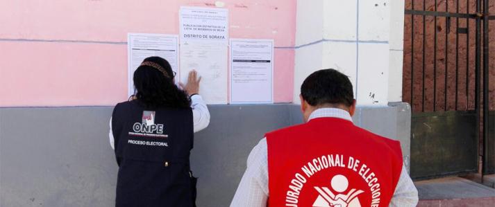 ONPE: Lista de miembros de mesa se publicó en lugares de concentración en Apurímac