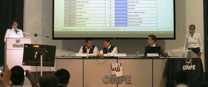 ONPE definió la ubicación de las organizaciones políticas en la cédula de sufragio para las Elecciones 2016