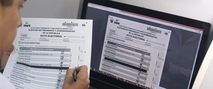 ONPE publica en su página web las actas digitalizadas de las Elecciones Generales 2016