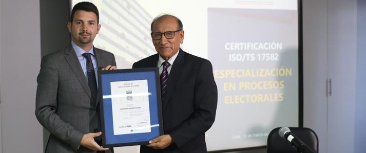 ONPE es el primer organismo electoral de Sudamérica en obtener la certificación internacional de gestión de calidad de la OEA
