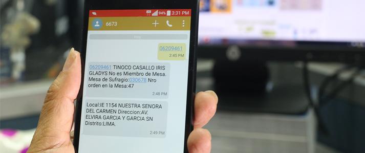 Electores pueden conocer su mesa de sufragio enviando un mensaje de texto gratuito al 6673
