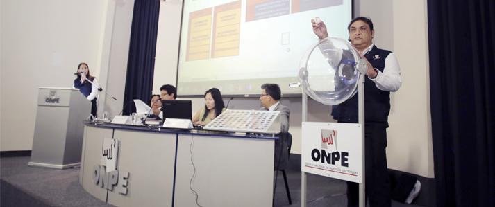 ONPE sorteó bloques de organizaciones políticas en cédula de sufragio electrónica para las Elecciones Municipales 2017