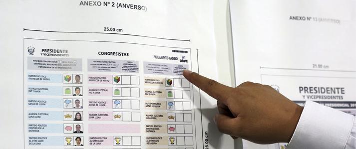 ONPE presenta diseños de cédulas de sufragio para las Elecciones Generales 2016