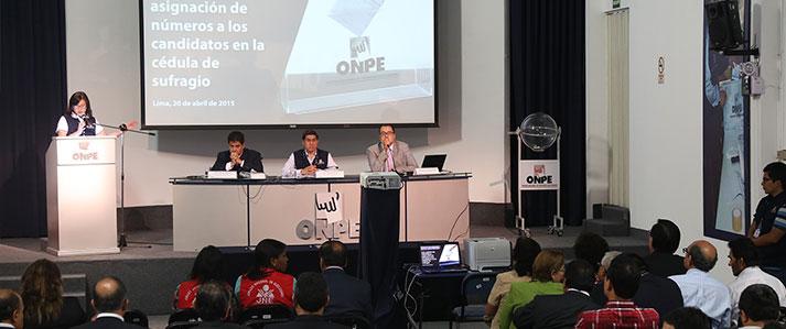 ONPE asigna número y ubicación en las cédulas de sufragio a los diez candidatos para la elección al CNM