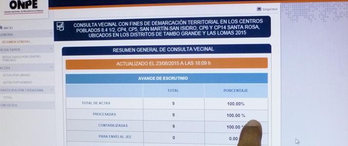 ONPE emite resultados al 100 % de la primera consulta vecinal de demarcación territorial
